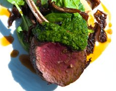 Venison rack with blue cheese dumplings and salsa verde
