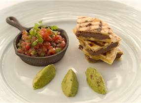 Venison quesadillas with Monterey Jack, avocado and backyard salsa
