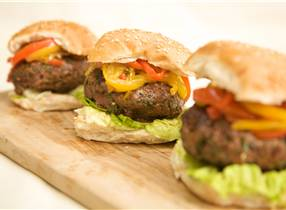 Venison Burgers with Sweet and Sour Pepper Salsa
