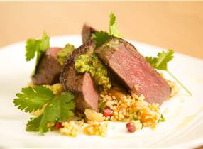 Venison Medallions with Roasted Squash and Parsley Tabbouleh and fresh Salsa Verde Dressing