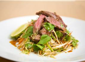 Venison and Coriander Salad with Glass Noodles and Ginger and Soy Dressing