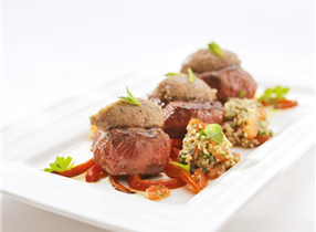 Venison medallions with aubergine relish and grilled peppers