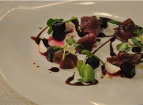 Smoked Venison and Chocolate Oil
