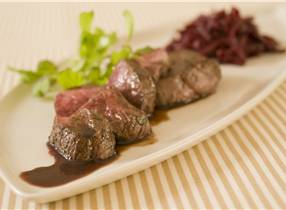 Venison Medallions with Gin and Plum Sauce and Sauteed Beetroot