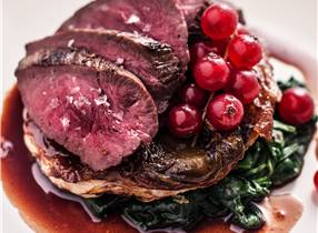 Roasted Venison with Glazed Chicory Tart and Red Currant Jus
