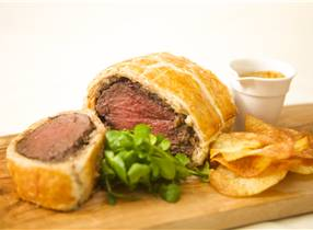 Venison Wellington with Chestnut, Mushroom and Cranberry stuffing