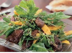 Spring salad with mango and roasted venison