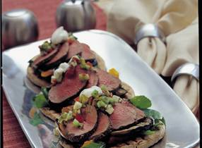 Greek style venison on flat bread