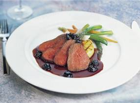 Venison with cracked black pepper and sour cherry sauce