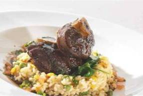 Osso bucco, new pea and sweet corn risotto
